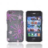 Apple Verizon/ AT&T iPhone 4, iPhone 4S Bling Hard Case - Supernova Pink Star on Black - XXIP4