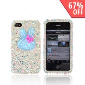 Premium Apple AT&T/ Verizon iPhone 4 Bling Hard Case - Blue Bunny w/ Silver, Blue & Pink Heart Gems on Silver