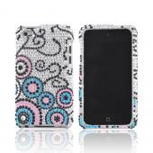 Apple iPod Touch 4 Bling Hard Case w/ Crowbar - Pink/ Blue Bubbles on Silver Gems
