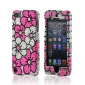 Hot Pink/ Silver Hawaiian Flowers on Silver Gems Bling Hard Case for Apple iPod Touch 5