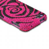 Hot Pink/ Black Rose Bling Hard Case for Apple iPod Touch 5