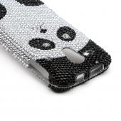 Silver/ Black Panda Bear Bling Hard Case for Kyocera Hydro Edge