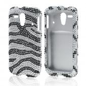 Black Zebra on Silver Bling Hard Case for Kyocera Hydro Edge