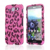 Black Leopard Gems on Pink Bling Hard Case for LG Optimus G Pro
