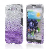 Purple/ Lavender Waterfall on Silver Bling Hard Case for LG Optimus G Pro