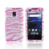 T-Mobile G2X Bling Hard Case - Pink Zebra on Silver Gems