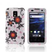 T-Mobile G2X Bling Hard Case - Red/ Black Daisies on Silver Gems