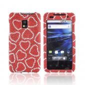T-Mobile G2X Bling Hard Case - Silver Hearts on Red Gems