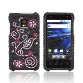 T-Mobile G2X Bling Hard Case w/ Crowbar - Silver Flowers w/ Pink Swirls on Black Gems