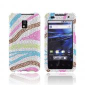T-Mobile G2X Bling Hard Case - Rainbow Zebra on Silver Gems