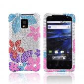 T-Mobile G2X Bling Hard Case - Turquoise/ Baby Pink/ Purple/ Red Flowers on Silver Gems