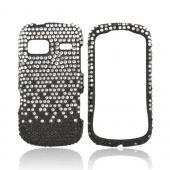 LG Rumor Reflex Bling Hard Case - Silver Waterfall on Black Gems