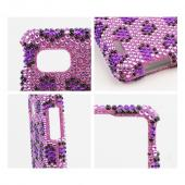 Dark Purple Leopard Gems on Lavender Bling Hard Case for LG Optimus F3 - Sprint/ Virgin Mobile