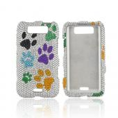 LG Viper 4G LTE/ LG Connect 4G Bling Hard Case - Multi Color Paw Prints on Silver Gems