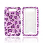 LG Viper 4G LTE/ LG Connect 4G Bling Hard Case - Purple/ Black Leopard on Lavender Gems