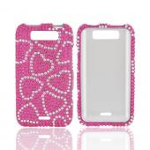 LG Viper LTE 4G/ LG Connect 4G Bling Hard Case - Silver Hearts on Hot Pink Gems