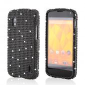 White Gems on Black Gems Bling Hard Case for LG Nexus 4