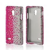 Hot Pink/ Silver Gems Bling Hard Case for LG Optimus L9