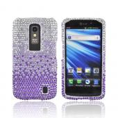 LG Nitro HD Bling Hard Case - Purple/ Lavender Waterfall on Silver Gems