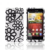 LG Revolution, LG Esteem Bling Hard Case - Black Lace Flowers on Silver Gems