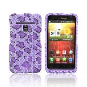LG Revolution, LG Esteem Bling Hard Case - Dark Purple/ Black Leopard on Light Purple