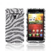 LG Revolution, LG Esteem Bling Hard Case - Black Zebra on Silver Gems