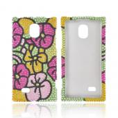LG Optimus VS930 (Optimus LTE II) Bling Hard Case - Green/ Hot Pink/ Yellow Hawaiian Flowers