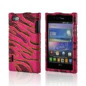 Black Zebra on Hot Pink w/ Gold Outline Bling Hard Case for LG Intuition
