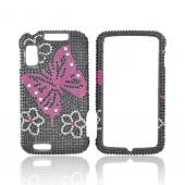 Motorola Atrix 4G Bling Hard Case - Flowers Hot Pink Butterfly on Black