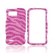 Motorola Atrix 2 Bling Hard Case w/ Crowbar - Hot Pink Zebra on Baby Pink Gems