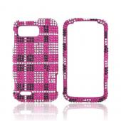 Motorola Atrix 2 Bling Hard Case - Black/ Silver Plaid on Hot Pink Gems