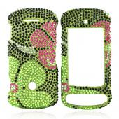 Motorola Crush W835 Bling Hard Case - Raised Pink Flower on Green Gems