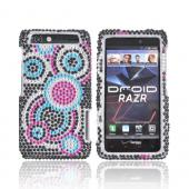 Motorola Droid RAZR Bling Hard Case w/ Crowbar - Pink/Turquoise/Black Bubbles