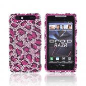 Motorola Droid RAZR Bling Hard Case - Hot Pink Leopard on Silver Gems