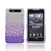 Motorola Droid RAZR Bling Hard Case - Purple/Lavender Waterfall on Silver Gems