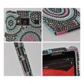 Pink/ Blue Circles on Black Bling Hard Case for Motorola Droid RAZR MAXX HD