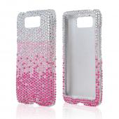 Hot Pink/ Baby Pink Waterfall on Silver Gems Bling Hard Case for Motorola Droid MAXX/ Droid Ultra
