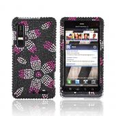 Motorola Droid 3 Bling Hard Case - Hot Pink/ Baby Pink/ White Flowers on Black Gems