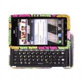 Motorola Droid 3 Bling Hard Case - Green/ Pink/ Yellow Hawaii Flowers