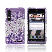 Motorola Droid 3 Bling Hard Case - Purple Hearts on Purple/ Silver Gems
