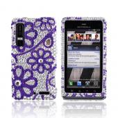 Motorola Droid 3 Bling Hard Case - Purple Lace Flowers on Silver Gems
