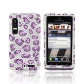 Motorola Droid 3 Bling Hard Case - Purple Leopard on Silver Gems