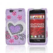 Motorola Droid RAZR MAXX Bling Hard Case - Purple/ Black Heart on Light Purple Gems