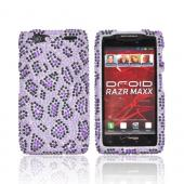 Motorola Droid RAZR MAXX Bling Hard Case - Purple/ Black Leopard on Light Purple Gems