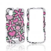 Motorola XPRT MB612 Bling Hard Case w/ Crowbar - Hot Pink/ Baby Pink Flowers on Silver Gems