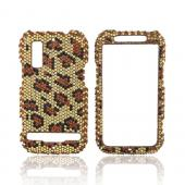 Motorola Photon 4G Bling Hard Case - Brown/ Black Leopard on Gold Gems
