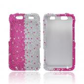 Motorola Atrix HD Bling Hard Case - Hot Pink/ Silver Gems