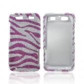 Motorola Atrix HD Bling Hard Case - Hot Pink/ Silver Zebra