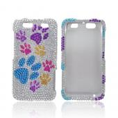 Motorola Atrix HD Bling Hard Case - Multi-Color Paw Prints on Silver Gems