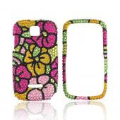 Motorola Theory Bling Hard Case - Green/ Magenta/ Yellow Hawaii Flowers
